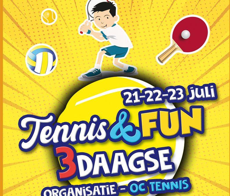 Tennis & Fun 3 Daagse op 21, 22 en 23 juli